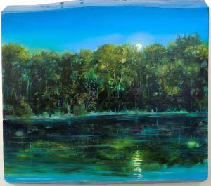 Sommernacht übern Starnberger See, 40 x 50 cm, 2015