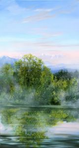 Maimorgen am Isarkanal, Öl/Acryl, 80 x120 cm, 2012