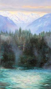 Gebirgssee, Öl/Acryl, 80 x 140 cm, 2009