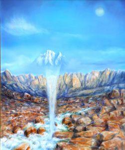 Gebirgstempel, Öl/Acryl, 100 x 120 cm, 2004