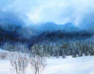 Februarsonne beim Brauneck, Acryl, 75 x 90 cm, 201