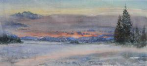 Winterabend im Voralpenland, Aquarell, 63 x 29 cm, 2009