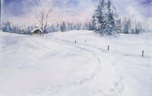 Schneewanderung bei Lengries, Aquarell, 48 x 32 cm, 2011