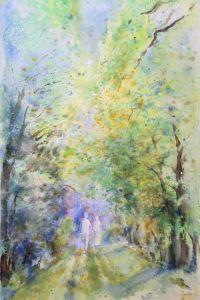 Frühlingsspaziergang, Aquarell, 40 x 60 cm, 2009