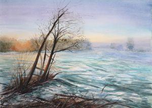 Isar, Aquarell, 48 x 35 cm, 2010