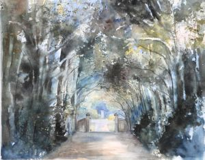 Allee in Frankreich, Aquarell