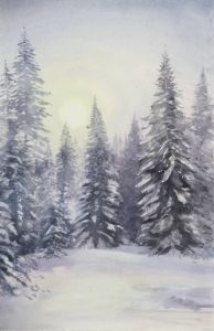 Wintertraum, Aquarell, 29 x44 cm, 2011