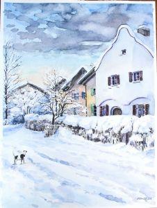 Neujahrsmorgen in Holzen, 35 x 48 cm, 2014